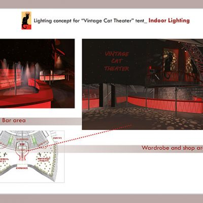 """Lighting Concept For """"Vintage Cat Theatre"""" tent.  Indoor Lighting"""