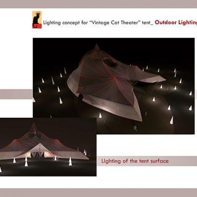"Lighting Concept For ""Vintage Cat Theatre"" tent. Outdoor Lighting"