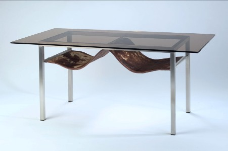 Cofee table. Stainless steel, leather, glass. 1100x600x 605 (2001)