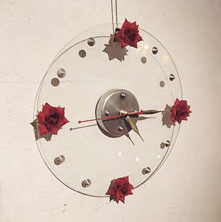Rosen Clock. deco. Glas, fabrick rosen, Aluminium D30 cm